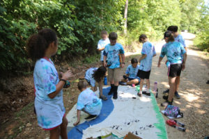 Kids enjoying summer day camp at TCWR and learning about animal tracks